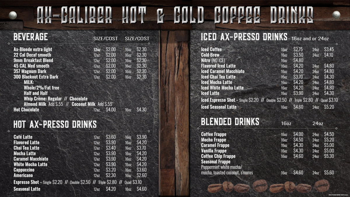 Ax-Caliber Coffee Menu | Axe Throwing Lakeland, FL