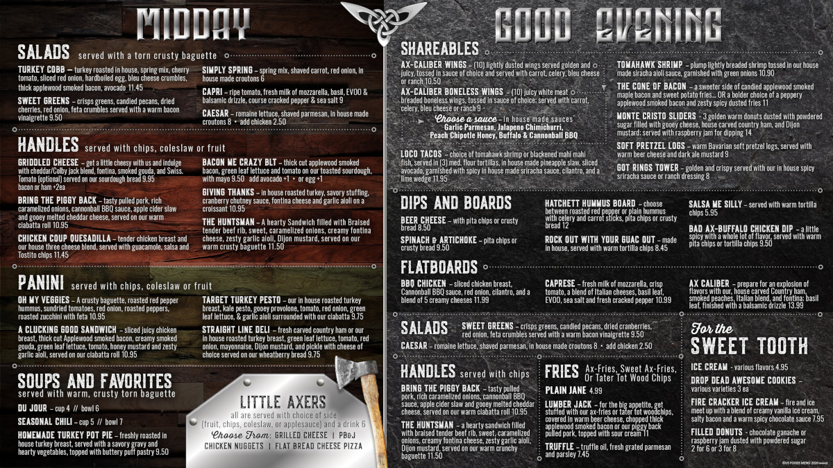 Ax-Caliber Lunch & Dinner Menus | Axe Throwing Lakeland, FL