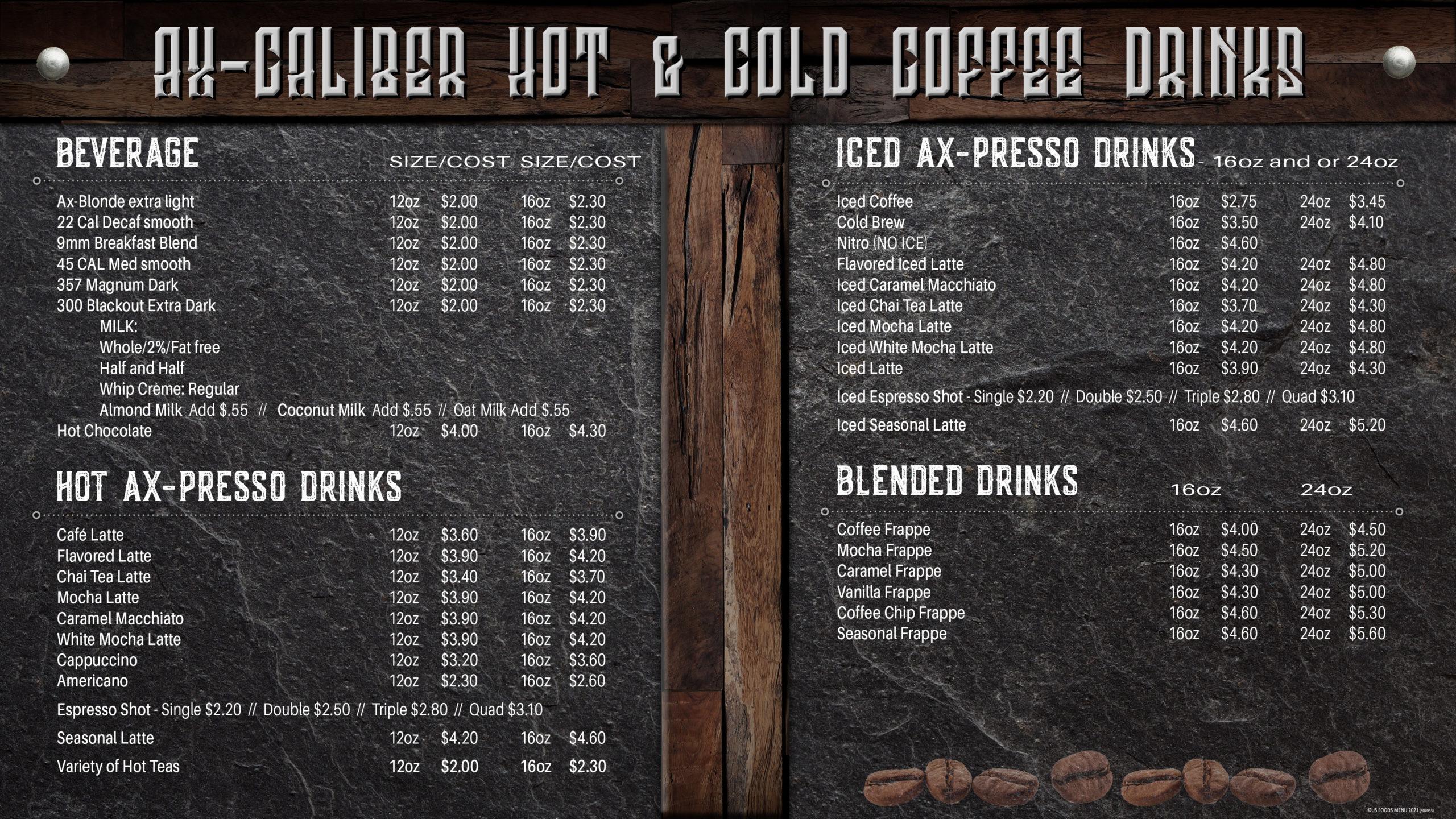 Ax-Caliber Coffee Menu | Axe Throwing Lakeland, FL